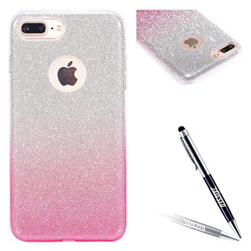 iPhone 7 Plus Custodia, iPhone 7 Plus Cover, JAWSEU Apple iPhone 7 Plus 4.7 Plus Protezione Bumper Brillantini Della Glitter Sparkle Bling Bling Custodia per Apple iPhone 7 Plus Cover Case Caso Gomma Gradiente Rosa