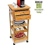 Bakaji Mehrzweck-Küchenwagen Aus Bambus 3Ablagen mit Plan Tablett abnehmbar 2Schubladen mit Besteckkasten Kapselhalter Kaffee Arbeitsplatte für Maschine Espresso und Lenkrollen Größe 40x 36x 80cm Farbe Bamboo natur