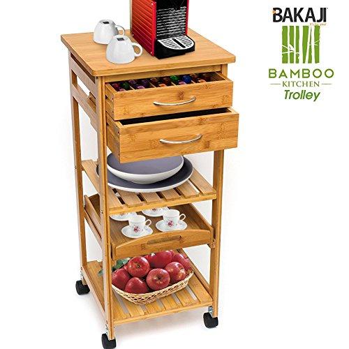 BAKAJI Carrello Cucina in Legno di bambù con Ripiano Top ...