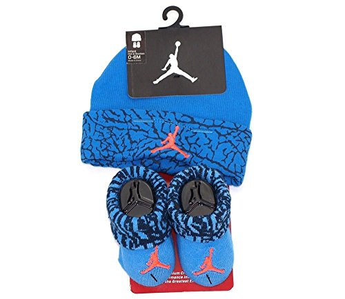 Baby Boy Nike Air Jordan Booties and Beanie Set (Deep Blue) (Spandex Deep Blue)