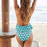 Byongyi Frauen Badebekleidung Hohe Taille Badeanzug Bauchkontrolle Zweiteiler Tankini Wave Print Split Badeanzug Beachwear -