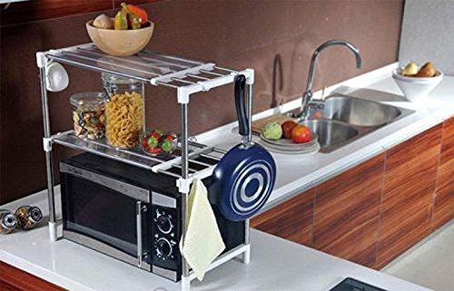 Keraiz Apq Fu4 Fvy Adjustable Chrome Microwave Oven Rack