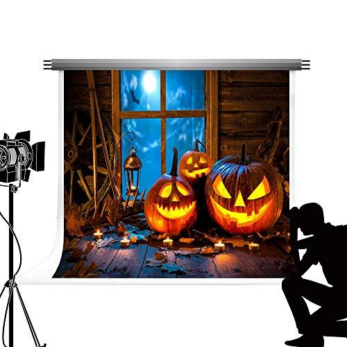 Kate Happy Halloween Kulissen Fotografie Holzboden Foto Kulisse Pastell Kürbis Laterne Baumwolle Portrait Fenster Requisiten für Halloween Fotoshooting 6.5x10ft / 2x3m (Baumwolle Laterne)