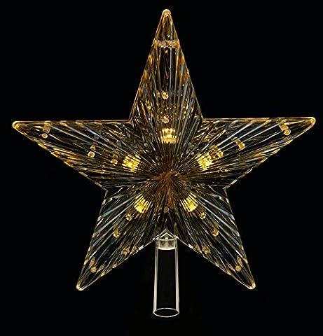 Gold LED-Licht Up Weihnachten Stern mit warm weiß Licht 24cm (Warm Weiß Led Weihnachten Tree)
