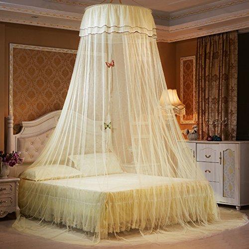 Baby-kuppel-zelt (Moskitonetz, Samber Romantische Betthimmel Kuppel Baldachin Insektennetz Schlafzimmerdekoration mit Schmetterlinge (Gelb))
