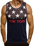 OZONEE Herren Tanktop Tank Top Tankshirt T-Shirt mit Print Unterhemden Ärmellos Weste Muskelshirt Fitness BLACK ROCK 51095 DUNKELBLAU M