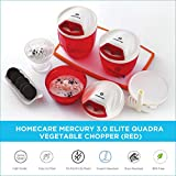 HomeCare Mercury Kitchen master Elite 3.0 Quadra Blades Vegetable Chopper - Beater with Convenient Pull Cord Mechanism attached Lid and BPA free Plastic Container - 900 ML (Red)