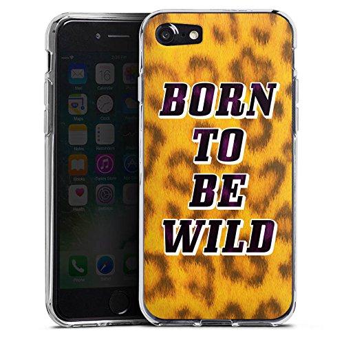 Apple iPhone X Silikon Hülle Case Schutzhülle Born To Be Wild Leopardenmuster Sprüche Silikon Case transparent
