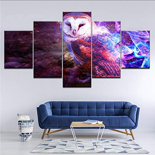 guyuell Canvas Painting Living Room Decor Hd Prints 5 Pieces Cool Psychedelic of Owl Pictures Animal Poster Modular Wall Art-30Cmx40/60/80Cm,with Frame - Owl Giclée Print
