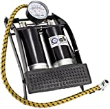 XtremeAuto® Heavy Duty, Double Barrel Foot Pump for car, motorcycle and bicycle.