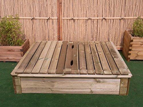 BIHL Sandkasten Deckel 150 x 150 cm Holz Sandbox Sandkiste Buddelkasten Spielkasten