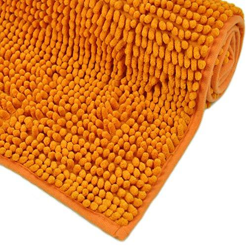 WohnDirect Badematte Orange • Badezimmerteppich zum Set kombinierbar, rutschfest & Waschbar • Badvorleger, WC Garnitur, Badteppich • 50x80cm