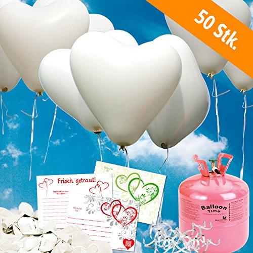 50 Herzballons Hochzeit WEIß Komplettset: 50 Herzluftballons + Helium Einwegflasche + 50 Ballonflugkarten für Luftballons zur Hochzeit (Helium-tank Für 50 Ballons)