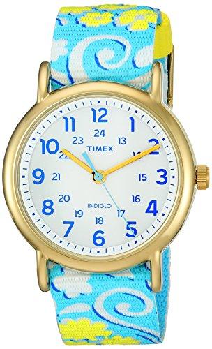 Timex Damen-Armbanduhr Armband Nylon Blau Gehäuse Edelstahl Quarz TW2P90100 (Timex Damen-armbanduhr Blau)
