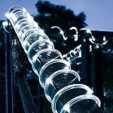 DINOWIN Striscia LED, Impermeabile alimentato solare 16.4ft/5M Flessibile SMD2835 100LED illuminazione corda d'atmosfera per la cucina,camera da letto,teatro,party,decorazione Natale (White)