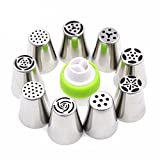 #6: ON GATE Stainless Steel icing Nozzles with 1 Coupler for Decorating Cupcake Pastries Desserts Tarts Pie(Set of 9)(Assorted)