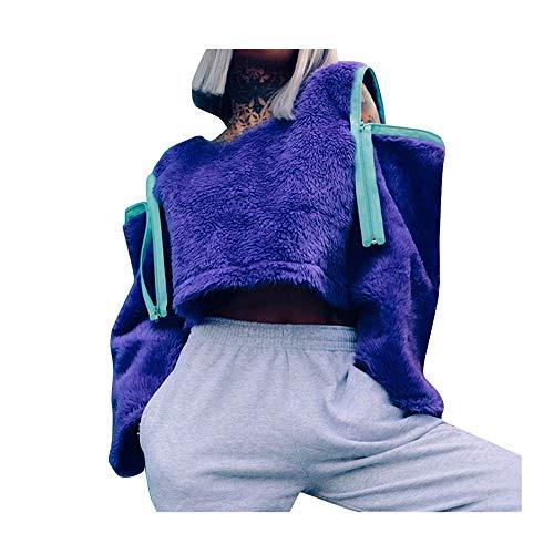 Oksea Damen Mantel Winter Warm Pullover Damen Herbst Winter Übergangs Warm Bequem Slim Lässig Stilvoll Frauen Langarm Solid Sweatshirt Pullover Tops Reißverschluss Bluse Shirt