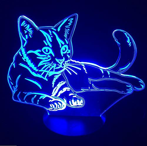 3D Gatito Visión Luz De Noche Led 7 Colores Cambie Cute Cat Desk Illusion Lamp Dormitorio Home Party Decor Kids Cumpleaños Regalo