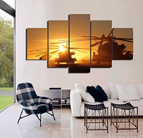 mmwin Kunst Wand s Bilder Für Wohnzimmer Poster 5 Panel Navy Hubschrauber Landschaft Wohnkultur Leinwand HD Gedruckt