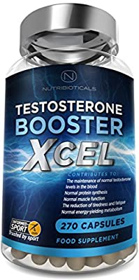 #1 Testosterone Booster Xcel - 17 Potent Active Ingredients with added Maca, D Aspartic Acid, Nettle, Fennel, Asian Red Panax Ginseng and more - Informed Sport registered for Professional Athletes. by Nutribioticals Ltd