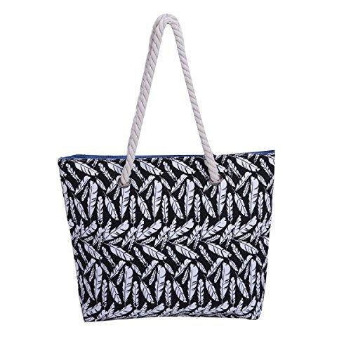 Shoulder Handbag Stripes Nuovo Retro Della Tela Di Canapa Borsa Da Spiaggia Delle Donne Black