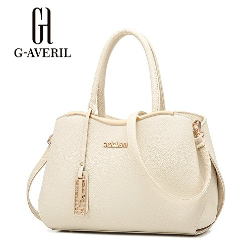 (G-AVERIL)Donna Borsa Handbag borsa a Spalla Borse a mano Tote Bag Shoulder Bag con Mutil tasche beige