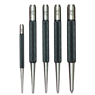 Starrett S816PC 5-Piece Punch Set, 3 Prick Punches with 5/64