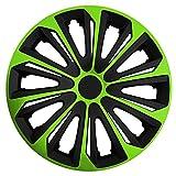 (Größe wählbar) 14 Zoll Radkappen / Radzierblenden STRONG Bicolor (Schwarz-Grün) passend für fast alle Fahrzeugtypen – universal