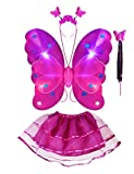 Thee 4LED vif aile de papillon fille Princesse Costume ailes avec baguette magique pour Party Carnaval fastnacht Costume enfant Halloween Rose/rouge