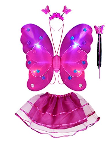THEE 4pcs LED Leuchtend Schmetterling Flügel Mädchen Kostüm Prinzessin Elfe Flügel mit Zauberstab für Party Karneval Fasching Fastnacht Halloween Kinder Kostüm