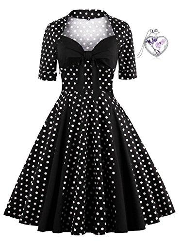 Lacus-DE Damen Die 1950 Hepburn Wind Kurze Ärmel Polka dots Mosaik Low-cut-sexy Retro-Kleid (M, Schwarz)