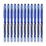 Huiouer - Set di 12 penne cancellabili con punta da 0,5mm, con inchiostro gel, per scuola, ufficio, cancelleria, regalo per studenti e bambini Blue