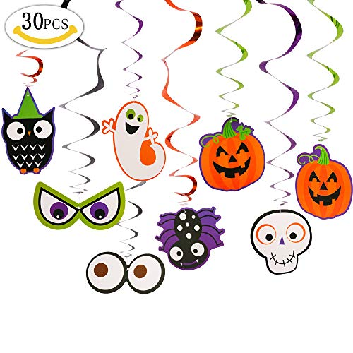 VSTON Víspera de Todos los Santos Swirls Hanging Decoration Party Set Supplies con Pumkins Ghost Swirls 30 Paquetes