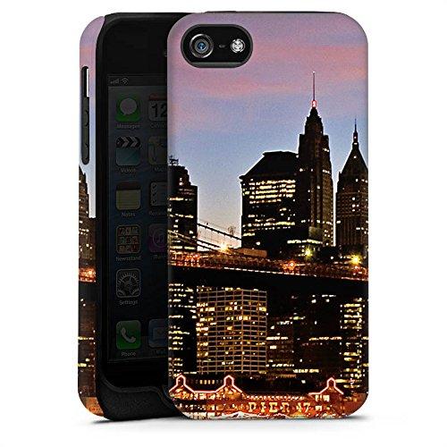 Apple iPhone X Silikon Hülle Case Schutzhülle New York Night Brücke Stadt Tough Case matt
