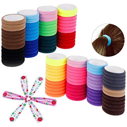 Trixes confezione da 100 cotone capelli banda elastiche cravatte - 6pc colorato snap clip - colori vari