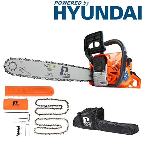 p1pe p6220 C 62 cc Hyundai Powered petrol Chainsaw, orange, 20