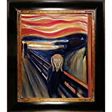 overstockArt The Scream by Munch mit opulenten Rahmen und dunklem gebeiztem Holz mit Goldverzierung