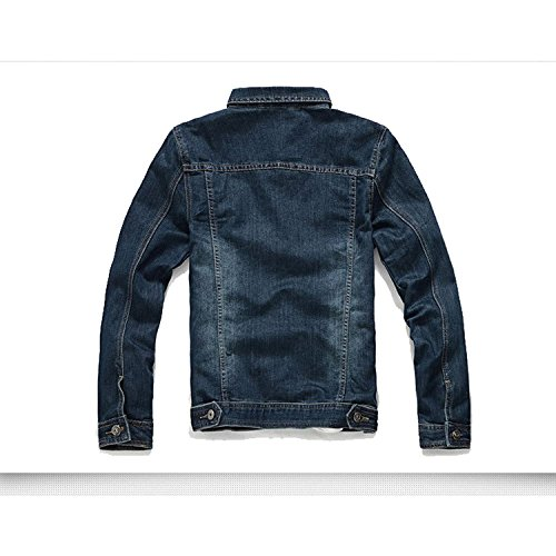 Xinmingyue Mens Denim Jean Jacket Long Sleeve Outerwear Tops SizeM-5XL Light Wash Slim Fit Dark Blue