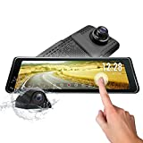 Eonon 25.1cm Dual Lens Dash Cam Full Touch Screen Stream Media Dashcam Front Backup Camera Rear View Car Mirror Dash Cam with AHD Kit G-sensor parking monitor1296P FHD 720p DVR Recorder Dash Cam with Car Brightness WDR ldws GPS R0011