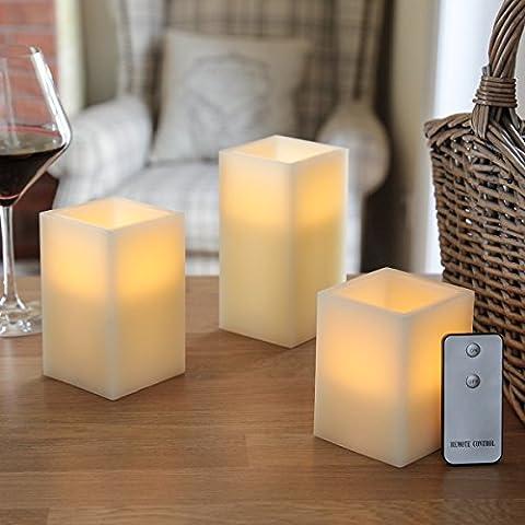 3-er Set: batteriebetriebene LED Echtwachs Vanille Duft Kerzen mit Fernbedienung