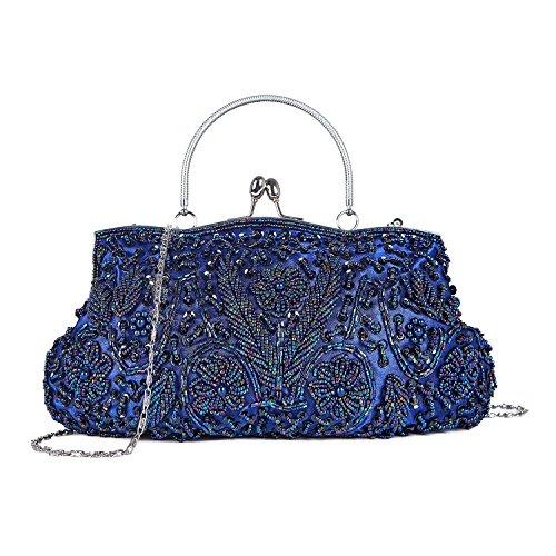 Kisschic Damen Handtaschen Weinlese Taschen Wulst Paillette Abendtasche Clutches Blau