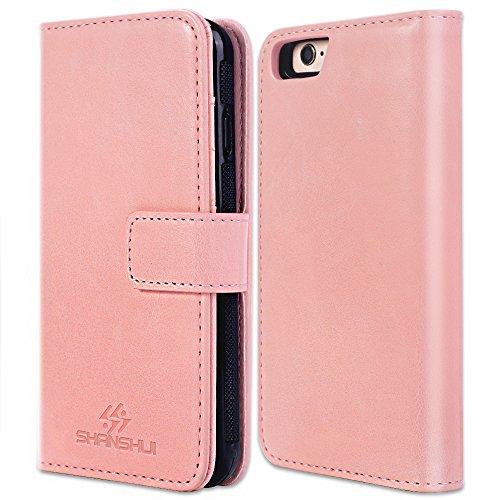 iPhone 6S Plus Hülle, iPhone 6 Plus Hülle, SHANSHUI 2in1 Doppelschutz Handyhülle mit RFID Schutz, Kartenfach für Bankarte und Geldschein, Geldbeutel-Style mit Magnetverschluss (Schwarz) Pink