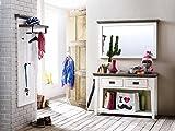 Garderobe, Garderobenschrank, Garderoben-Set, Flurgarderobe, Garderobenmöbel, Dielenmöbel, Flurmöbel, massiv, Echtholz, massiver Akazie strukturweiß