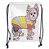 OQUYCZ Drawstring Sack Backpacks Bags,Yorkie,Cute Dog with Sports Gear on Running Gear on Going for a Walk Colorful Dress Fun Decorative, Soft Satin,5 Liter Capacity,Adjustable Strin