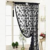 Voberry® Fashion Luxury Black Butterflyes Pattern Door Window Polyester Fiber Curtain Room Divider Strip Tassel Butterfly Pattern 100*200cm Approx for Home Decor by Voberry