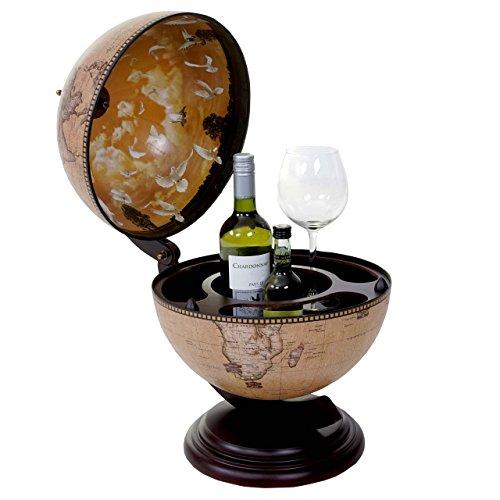 Globus Tischbar HWC-T873, Minibar Tischbar, Weltkugel für 3 Flaschen