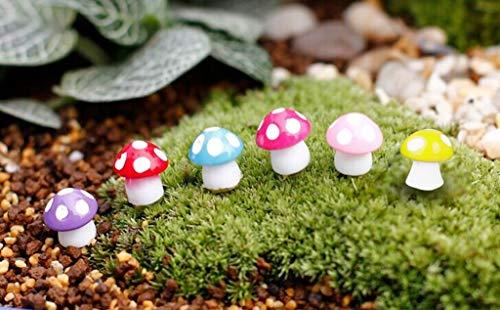 Garden Statues & Sculptures - 100pieces Miniature Dollhouse Bonsai Fairy Garden Landscape Mushroom Decor - Miniature Terrarium Stone Garden Shot Terrarium Willow Wood Wood Garden Miniature M -