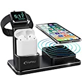 YFW Apple Watch Ladestation, 3 in 1 Wireless Charger für iPhone XS Max/Xs/XR/X/8/8 Plus, 10W Qi Ladegerät Kompatibel mit Apple Watch Series 4 3 2 1 AirPods inkl 2 Kabel