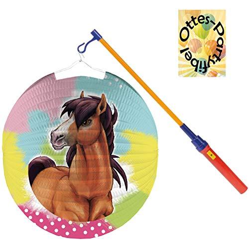 Pferde-Laternen-Set Ballonlaterne Lampion Charming Horses + LED Laternenstab Leuchtstab