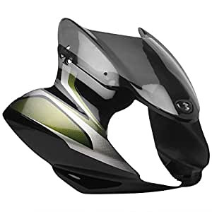 Zadon Front Fairing (Visor) with Glass for Bajaj Discover 100CC (Black and Green)